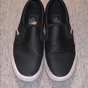 Black leather perforated Vans Slip-Ons